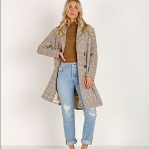 NWT SAGE THE LABEL Clemence Jacket Beige Plaid